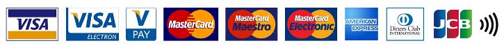 Za služby sportovního areálu Jedenáctka Chodov je možné platit všemi druhy platebních karet včetně bezkontaktních - MasterCard, Visa, American Express, Diners Club i JCB.